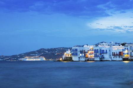 cruise travel: Sunset in Little Venice, Mykonos, Greece