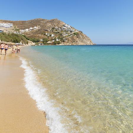 Sunny Elia Beach in Mykonos, Greek Islands