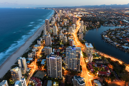 surfers paradise: Southern Gold Coast looking towards Broadbeach at dusk