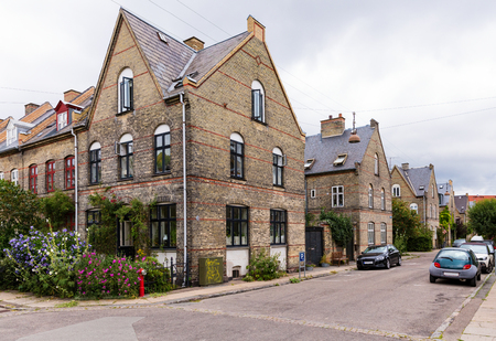 Old homes near the brewery in Copenhagen, Denmark