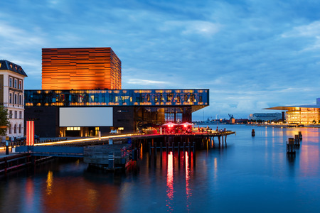 Nyhaven, 코펜하겐, 덴마크의 여름 일몰 스톡 콘텐츠