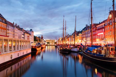 Summer sunset in Nyhaven, Copenhagen, Denmark Stock Photo