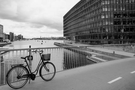 danish: Bike on Copenhagen bike lane in Denmark Stock Photo