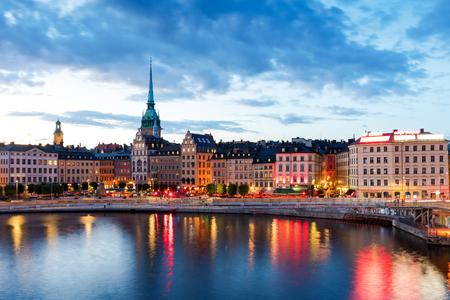 Zentrales Stockholmer Stadtbild in der Dämmerung, Schweden