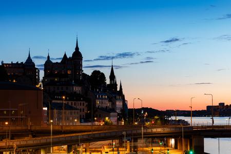 voyage: Central Stockholm cityscape at dusk, Sweden