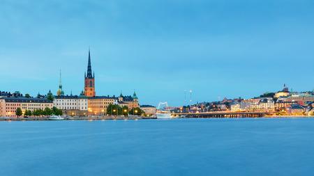 Central Stockholm cityscape at dusk, Sweden