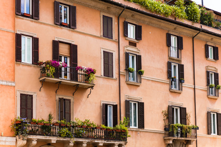Traditional Italian building in central Rome, Italy