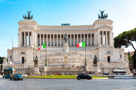 europe: View of Altar of the Fatherland from Piazza Venezia, Rome, Italy Stock Photo