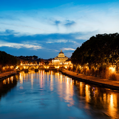 europe: View of Saint Angelo and Saint Peters Basilica at sunset