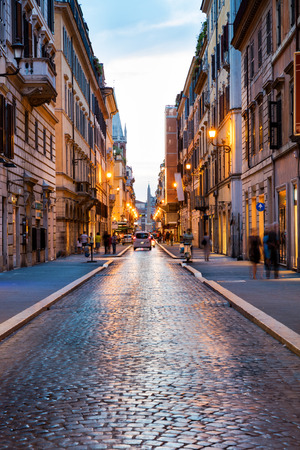Old Roman street at sunset, Rome, Italy