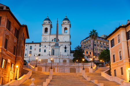 View of Spanish Steps at sunset in Rome, Italy