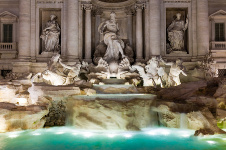 View of Trevi Fountain at sunset, Rome, Italy Stock Photo