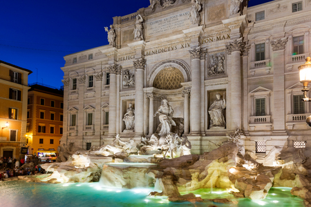 View of Trevi Fountain at sunset, Rome, Italy Lizenzfreie Bilder
