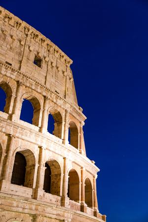 amphitheatre: Night view of the Colosseum amphitheatre in the centre of Rome