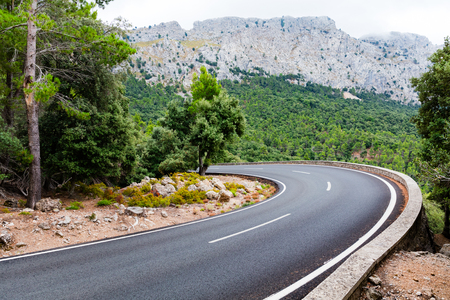 Mountain road going up Puig Major in Majorca, Spain