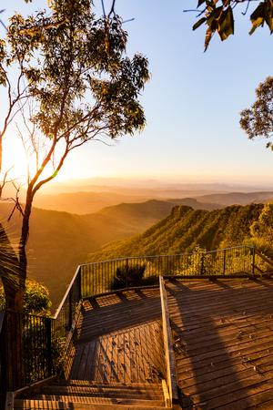 Sonnenuntergang Blick von der Gold Coast Hinterland, Queensland, Australien