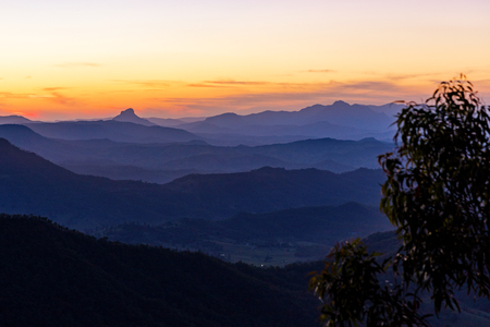 Sunset view from the Gold Coast hinterland, Queensland, Australia
