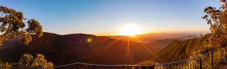 Panoramic sunset view from the Gold Coast hinterland, Queensland, Australia