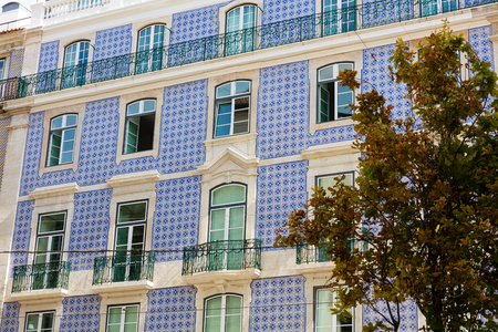 Traditional Portugese architecture and building in Lisbon, Portugal