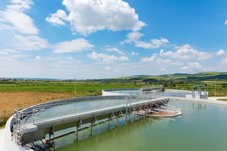 Organic waste water treatment purification plant, Romania 版權商用圖片