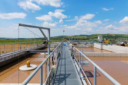 Organic waste water treatment purification plant, Romania Stock Photo