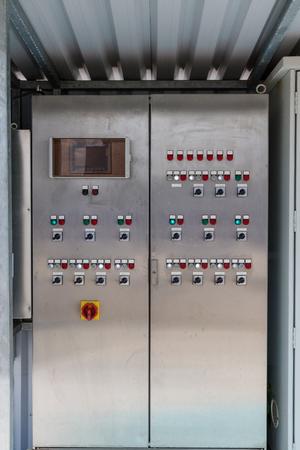 Gefahrstoff-Bedienfeld in Wasseraufbereitungsanlage Standard-Bild