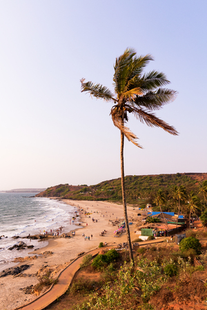 Vagator and Ozran beach at sunset, Goa, India Standard-Bild
