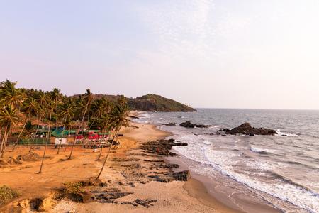 Vagator und Ozran Strand bei Sonnenuntergang, Goa, Indien