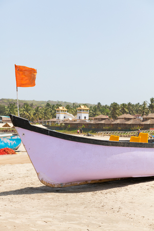 Arambol Strand mit Fischerbooten, Goa, Indien Standard-Bild