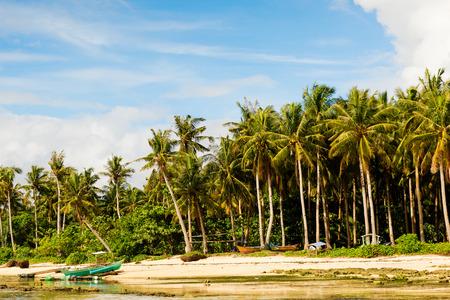 Tropische Siargao Insel mit traditionellen Fischerbooten auf den Philippinen Standard-Bild