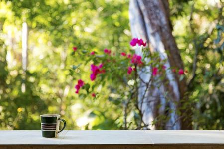 Coffee mug on a ledge overlooking a tropical rainforest, Mexico Stock Photo