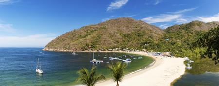 Panorama of the tropical coastal town of Yelapa near Puerto Vallarta, Mexico Stock Photo