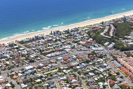 Sunny aerial view of Mermaid Beach on the Gold Coast, Queensland, Australia