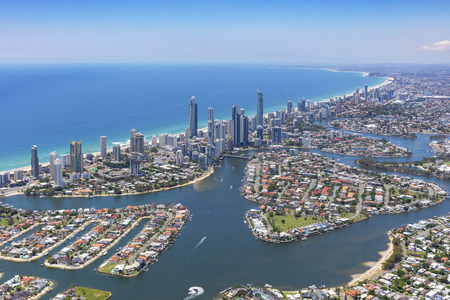 Sunny aerial view of the Gold Coast, Queensland, Australia Stock Photo