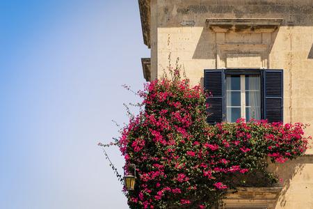 Colorful Maltese homes in the Mdina Castle, Malta
