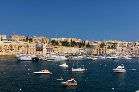 Sunny view of Kalkara and its marina, Valletta, Malta Stock Photo