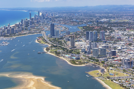 Sunny aerial view of Southport and Surfers Paradise on the Gold Coast, Queensland, Australia
