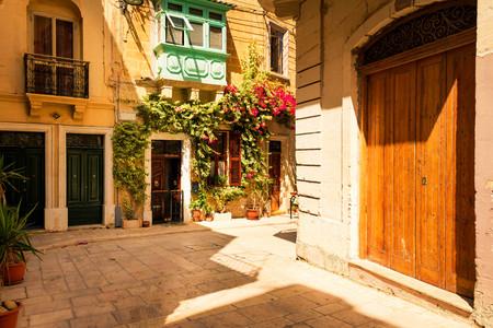 Colorful Maltese homes in the suburb of Birgu, Valletta