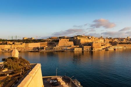 Sunrise over Valletta and the grand harbour, Malta Stock Photo