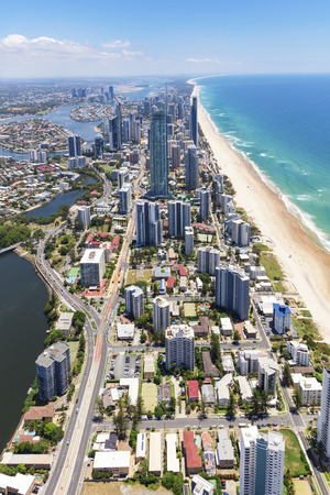 Vertical aerial view of sunny Surfers Paradise on the Gold Coast, Queensland, Australia