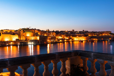 Night view of Valletta and the Grand Harbour, Malta