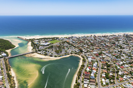 Sunny view of Palm Beach and Tallebudgera Creek on the Gold Coast, Queensland, Australia Stock Photo
