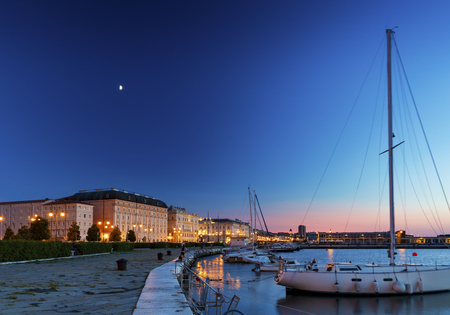 The port city of Trieste at sunset, Northeast Italy