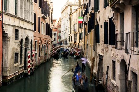 Gondolas in Venice canal, Italy Standard-Bild