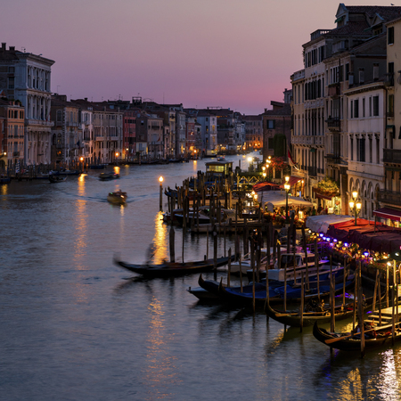 View of the Grand Canal from Rialto Bridge at sunset, Venice, Italy
