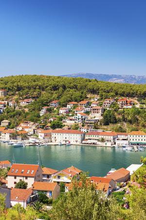 The town of Jelsa on the island of Hvar in Dalmatia, Croatia