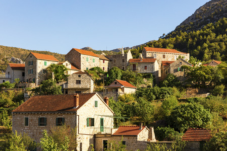 Stone houses in Pitve on the island of Hvar, Croatia
