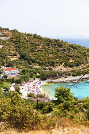 Sunny Hvar beach, Hvar Island, Croatia Standard-Bild