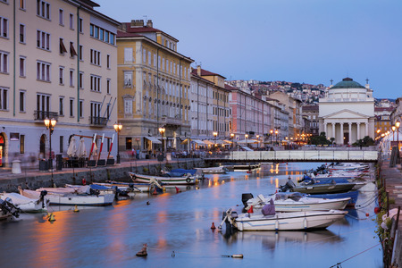 Ponte Rosso at sunset, Trieste, Italy Editorial