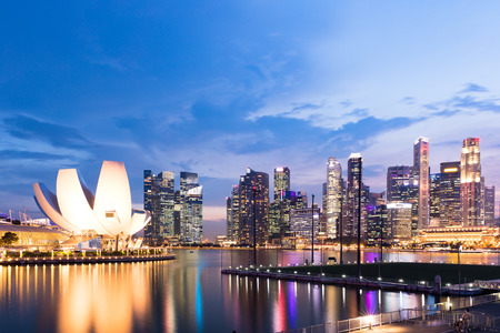 Singapore skyline and business district at dusk